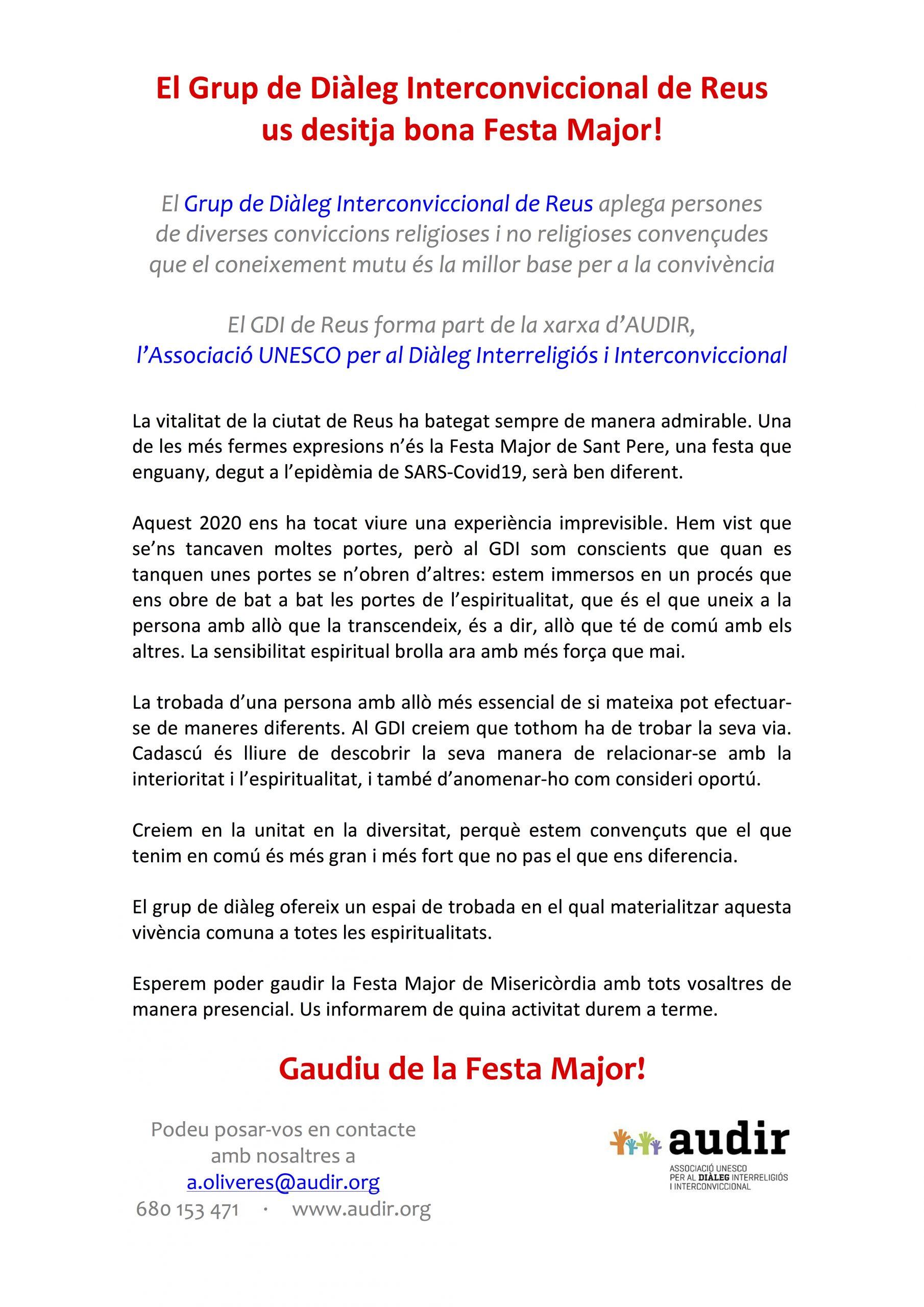 El GDI de Reus us deitja bona Festa Major!